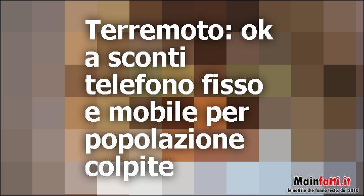 SISMA 2016/2017 - AGEVOLAZIONI TARIFFARIE TELEFONI